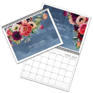 Bible verse calendar with navy background and flowers
