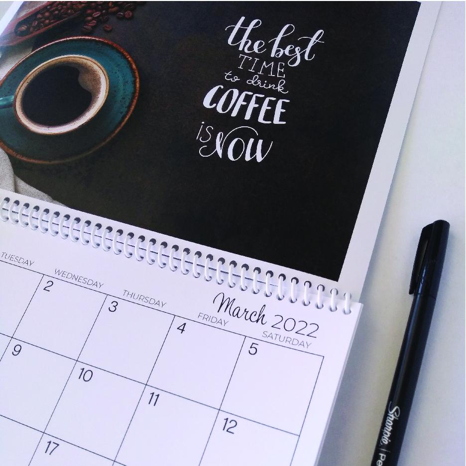 Coffee Time calendar closeup